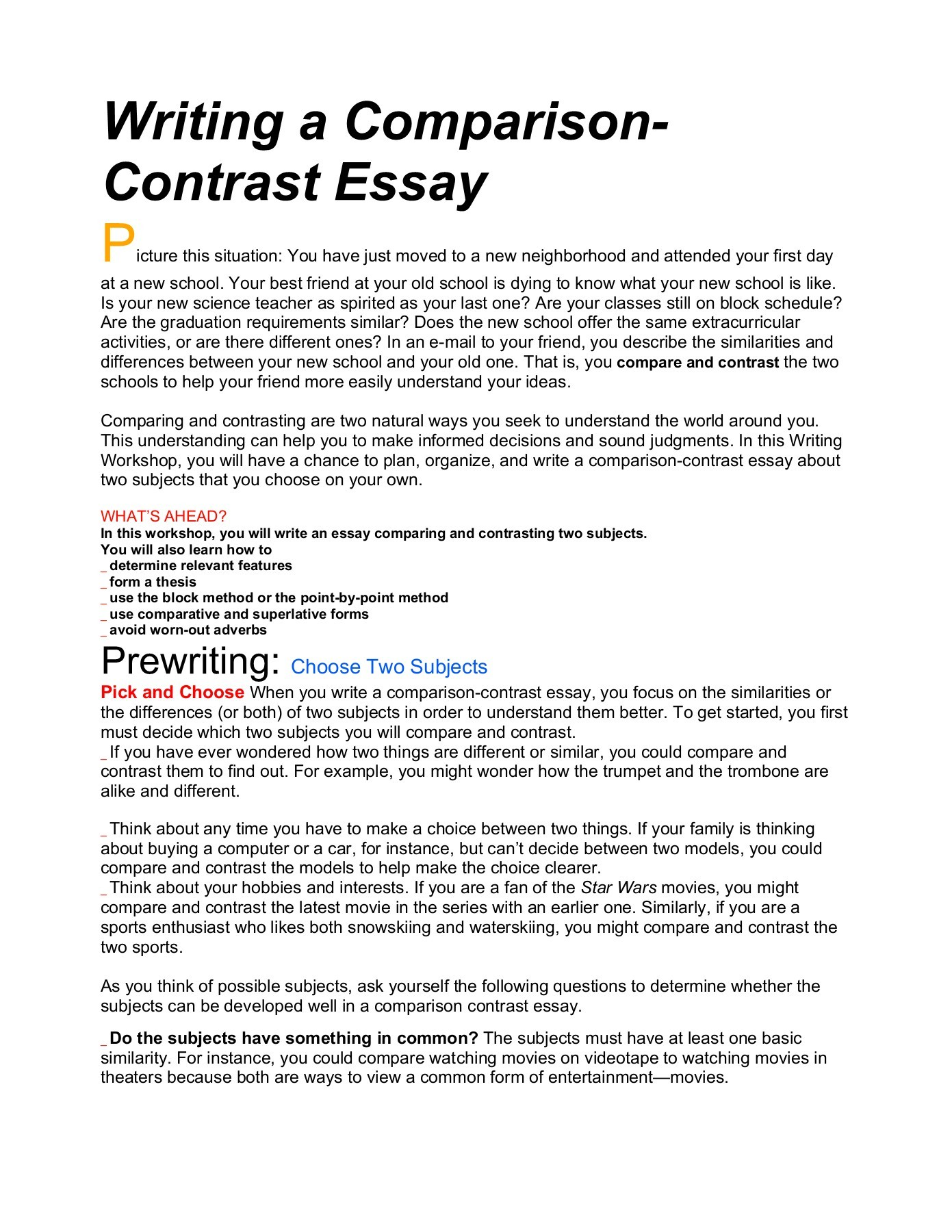 013 Essay Example Compare And Frightening Contrast Topics Outline Doc Sample 4th Grade Full