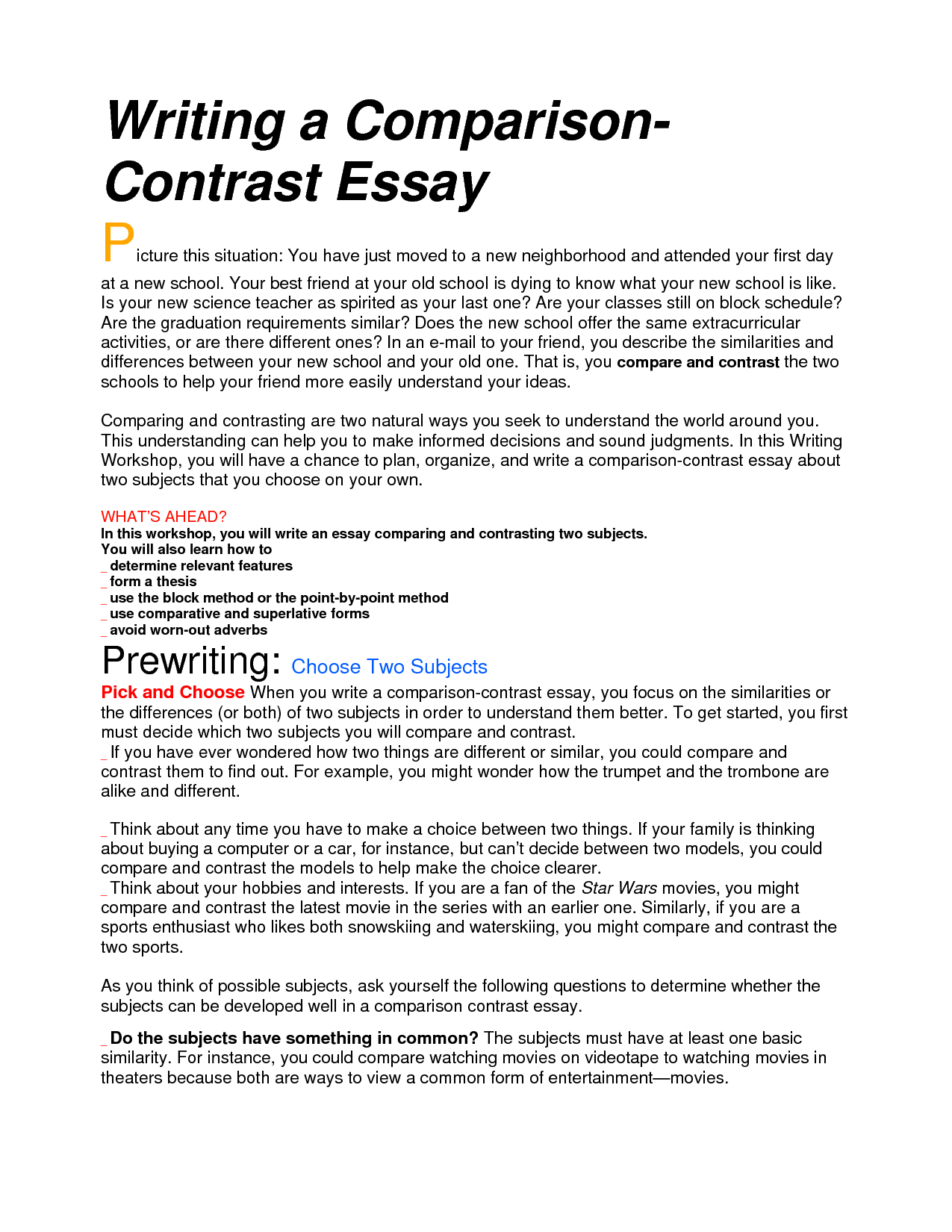 013 Essay Example Compare And Rare Contrast Block Method Sample High School Comparison Examples Middle Full