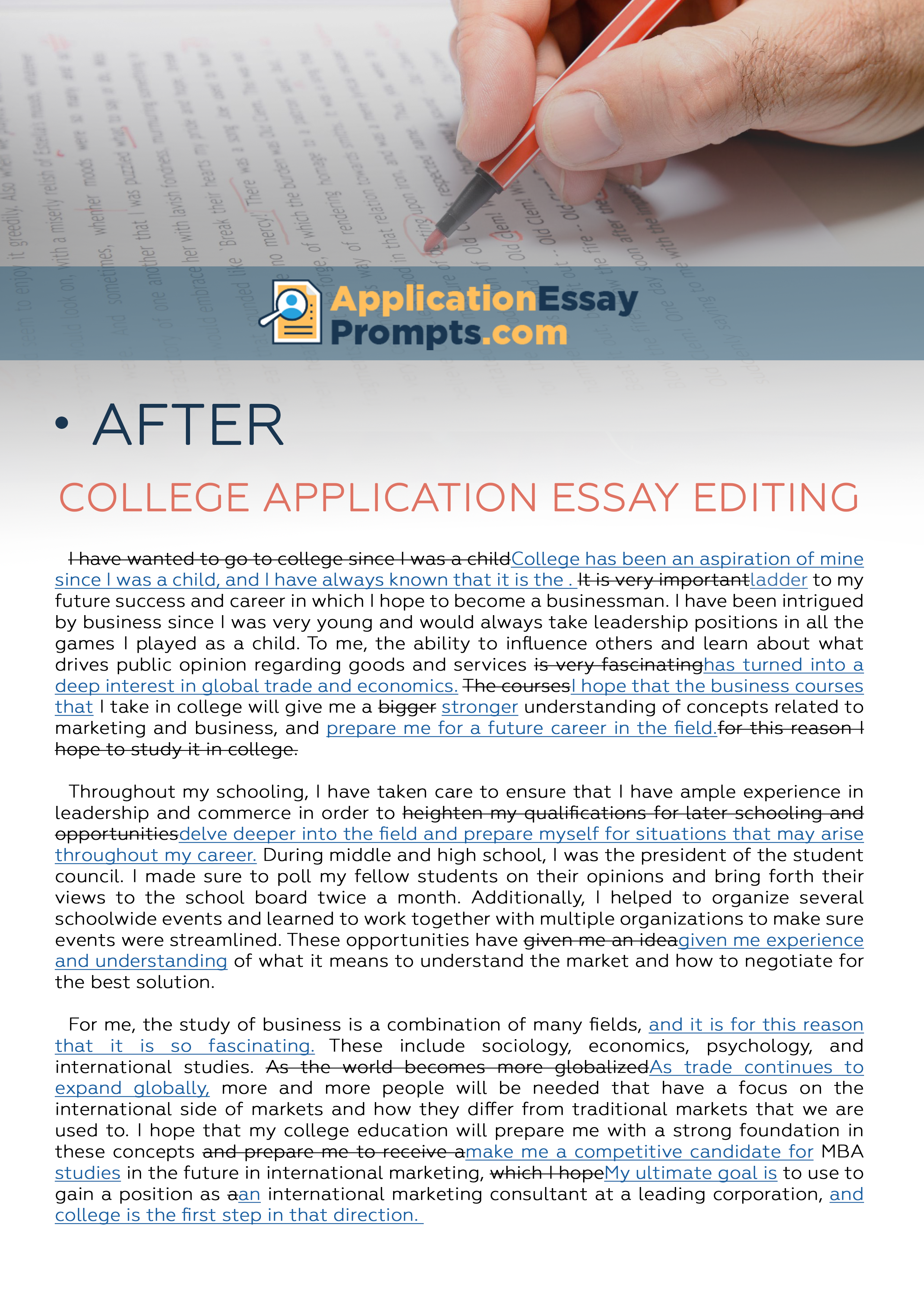 013 Essay Example Editing After College Unusual Service Application Services Free Full