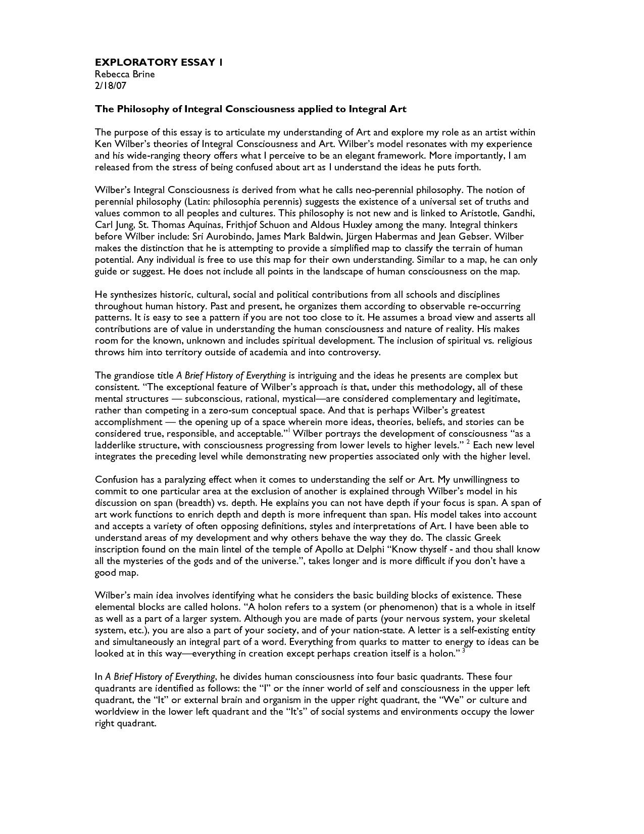 Example exploratory essay