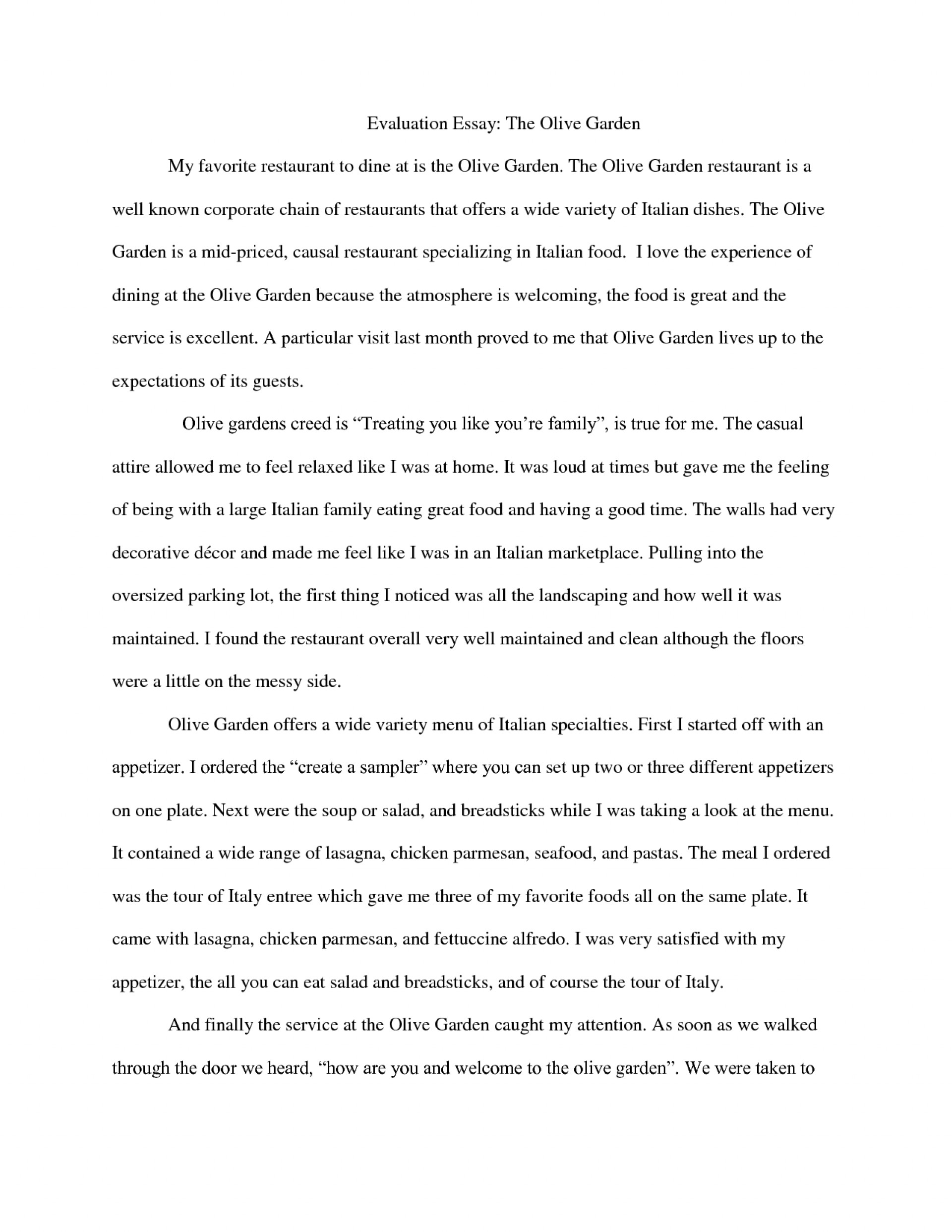 how to write an evaluation paragraph
