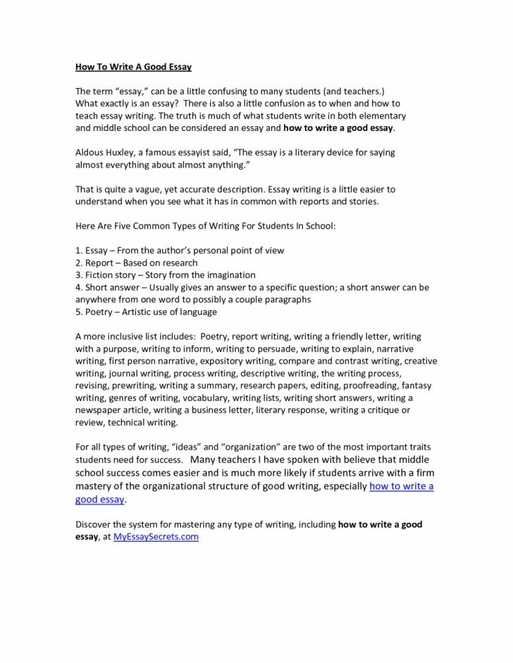 013 Essay Example How To Type An Types Of Writing Examples