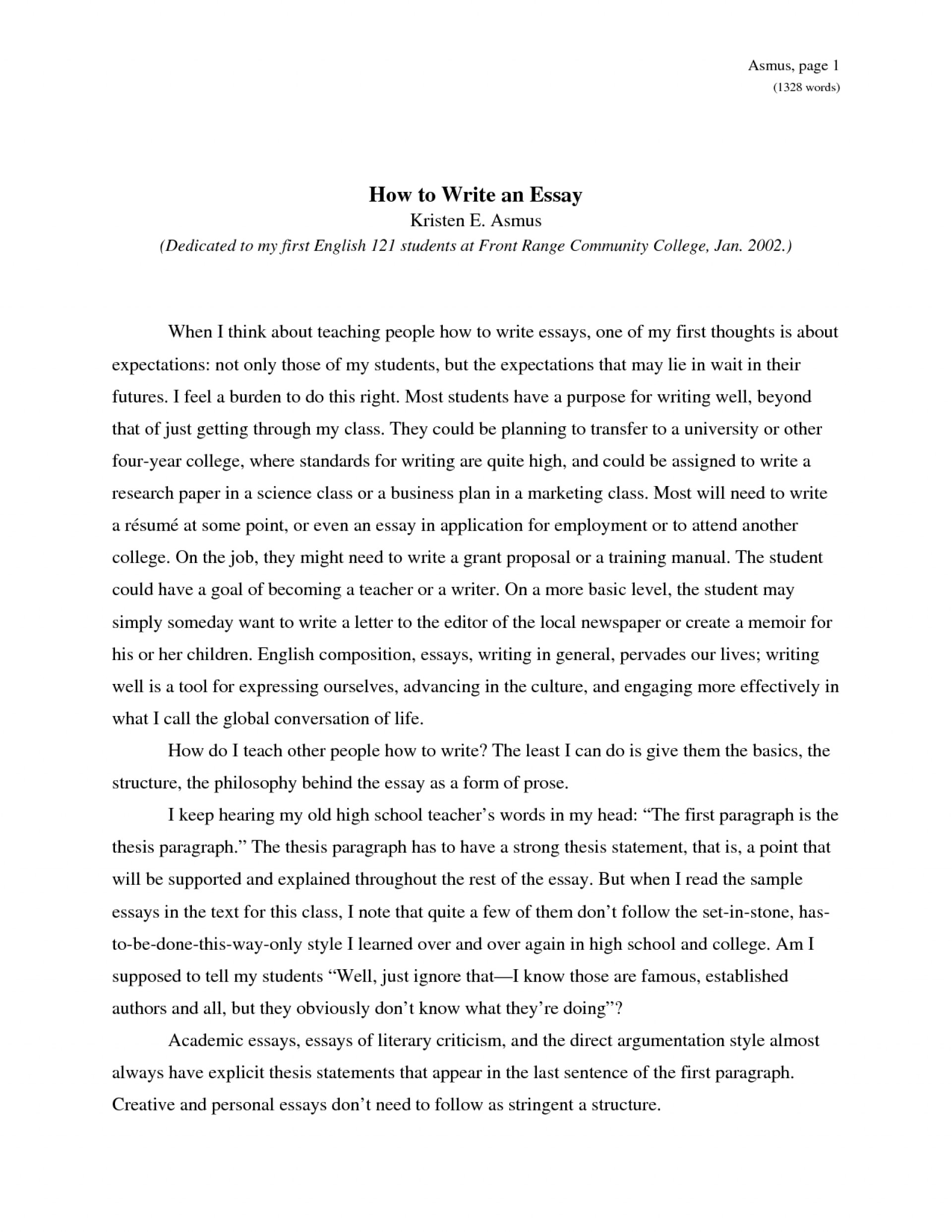 013 Essay Example How To Write An Obfuscata Sample Of L Shocking About Yourself Without Using I For College English Introduction 1920
