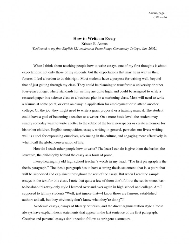 013 Essay Example How To Write An Obfuscata Sample Of L Shocking About Yourself Without Using I For College English Introduction 728