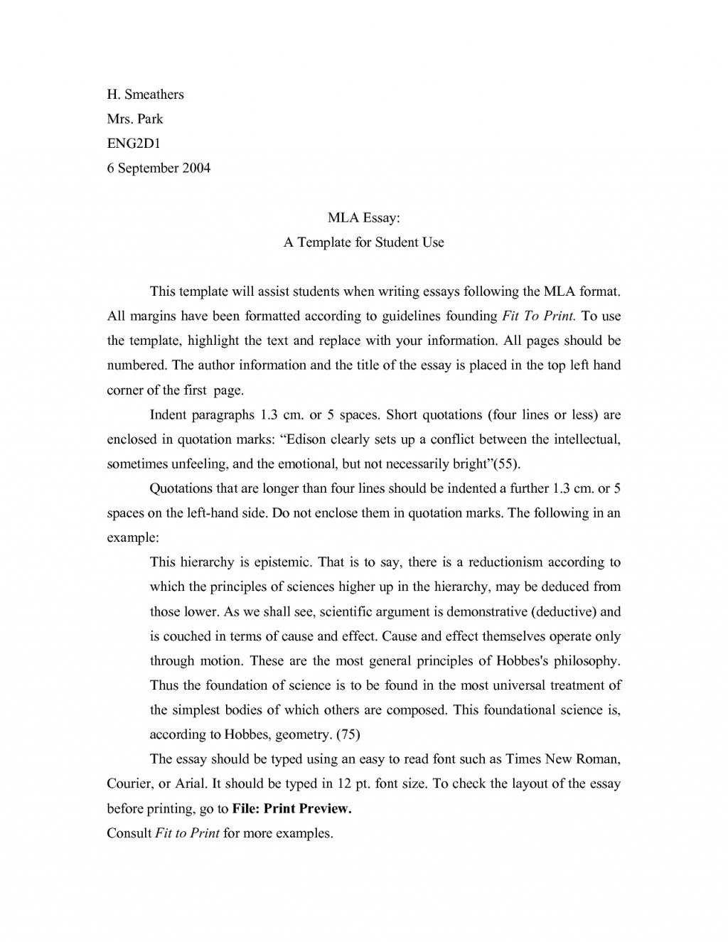 013 Essay Example Mla Format Narrative Template Staggering Large