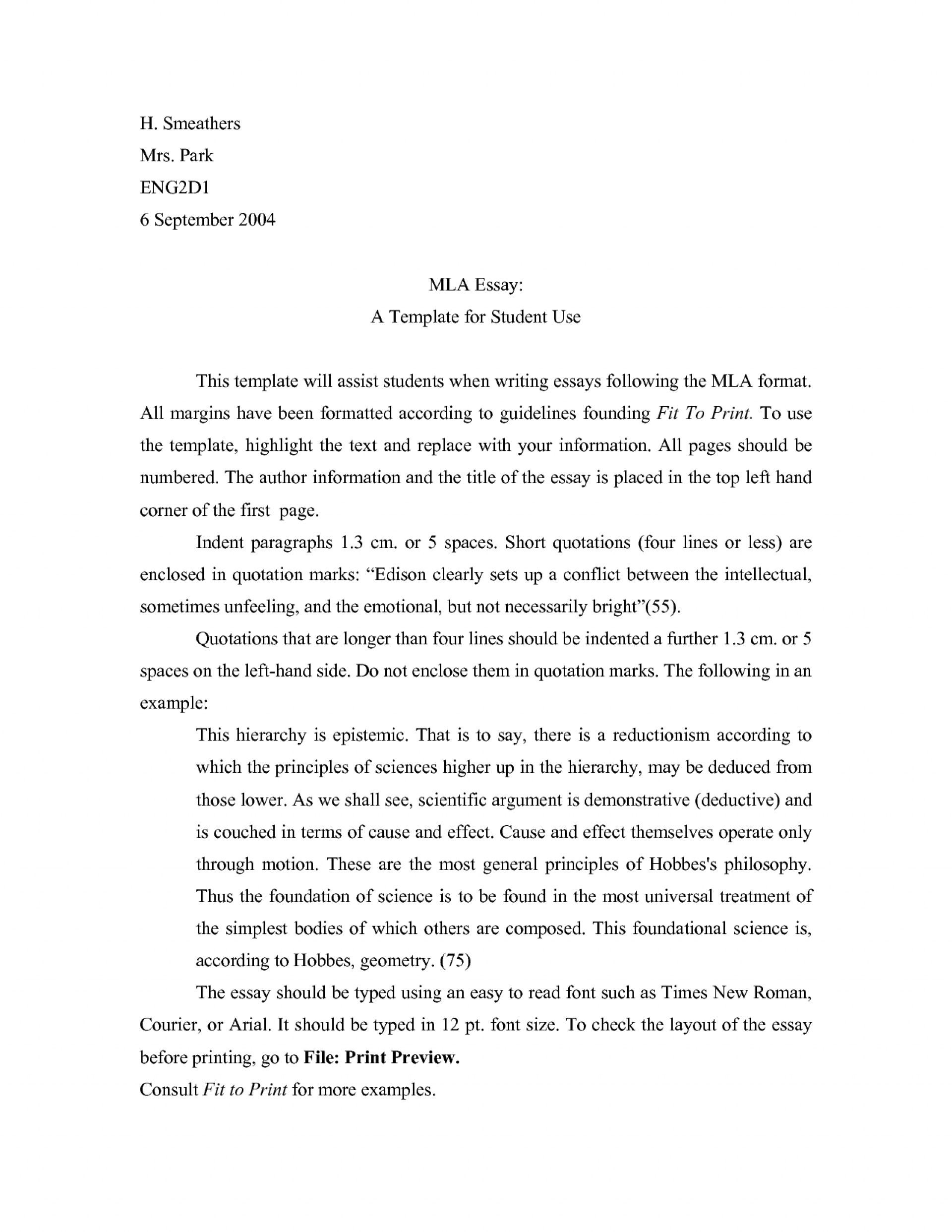013 Essay Example Mla Format Narrative Template Staggering 1920
