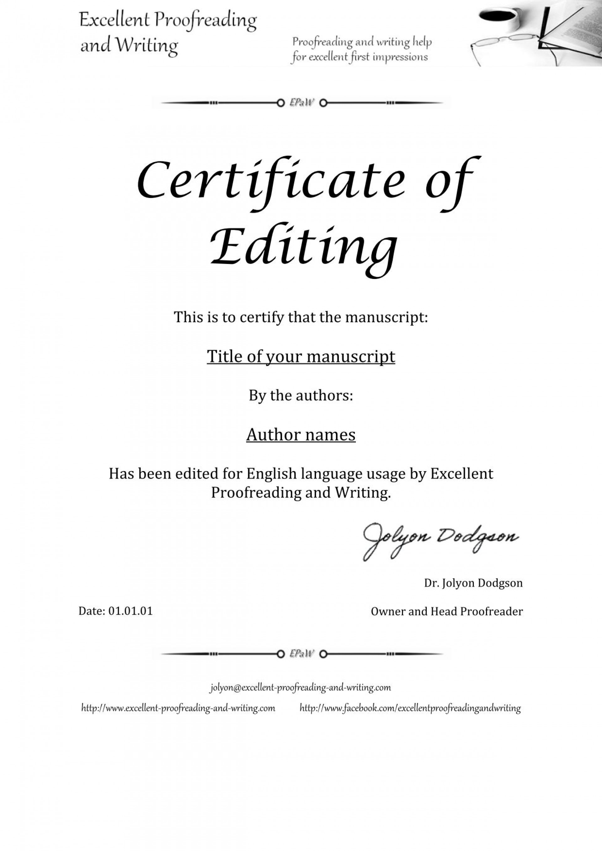 013 Essay Example Proofread Certificate Of Unique Proofreading Service Website University 1920