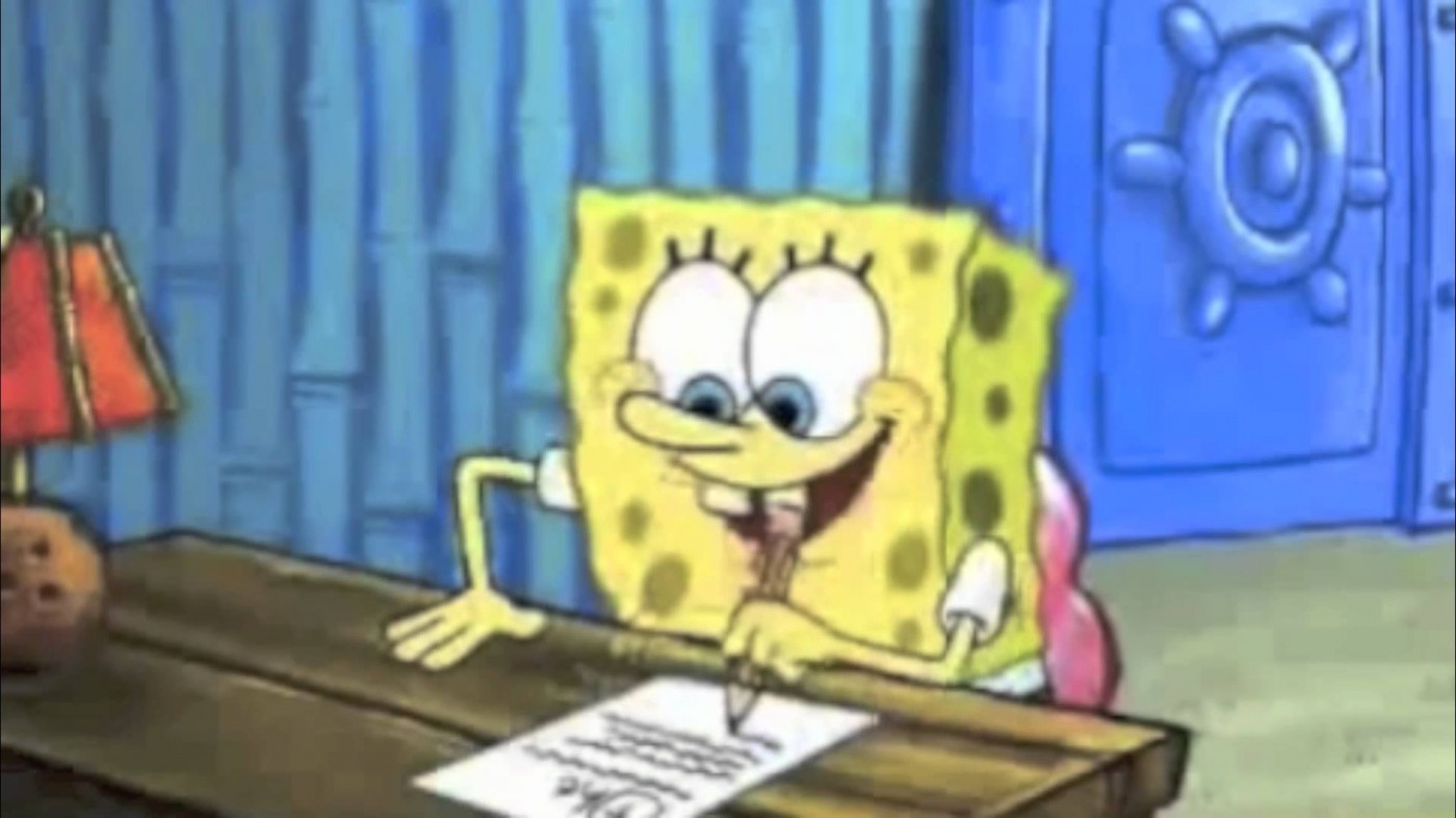 013 Essay Example Spongebob Writing His Help For Hours Maxresde Gif The Rap Font Surprising Meme Pencil 1400