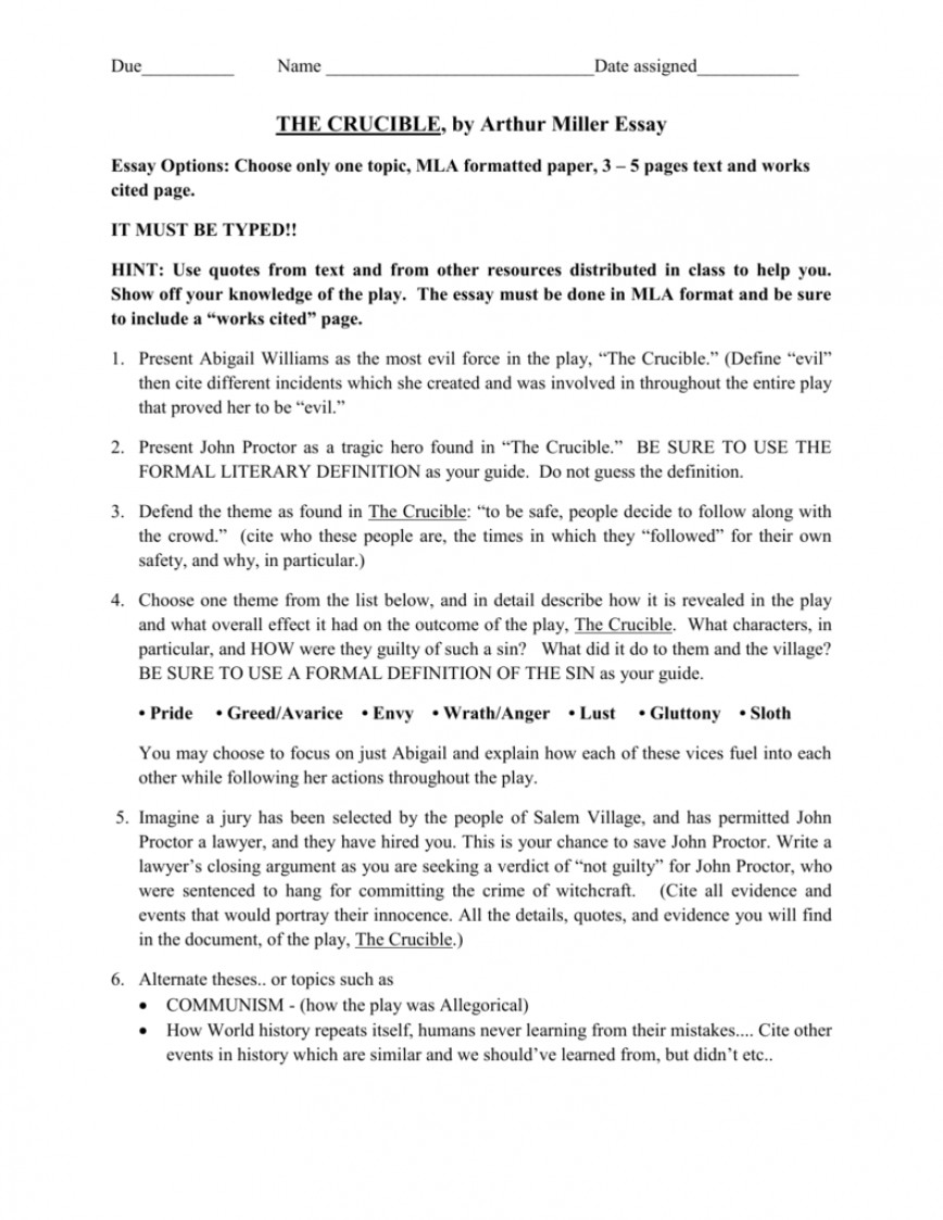 013 Essay Example The Crucible Topics 008038870 1 Shocking Topic Sentences Argumentative Test Questions