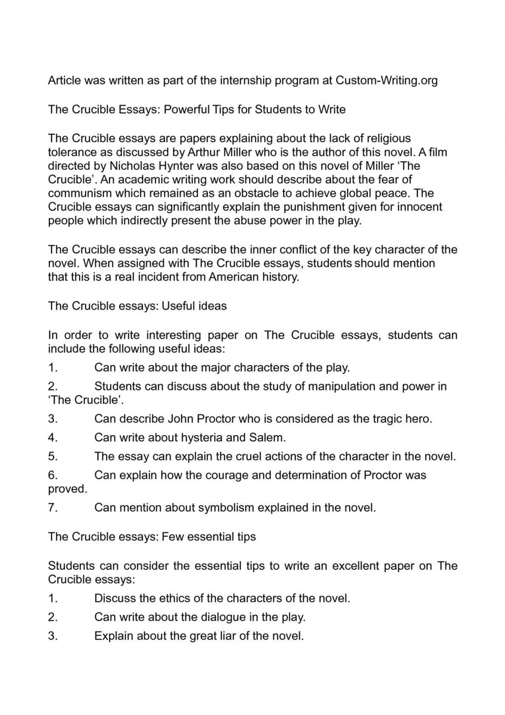 013 Essay On The Crucible Example Phenomenal And Red Scare Reputation Questions For Act 1 Large