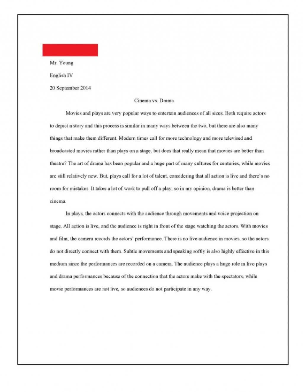 013 Essay Vs Paper Example Cinema Drama Page Breathtaking Term Personal Research What Is The Difference Persuasive Large