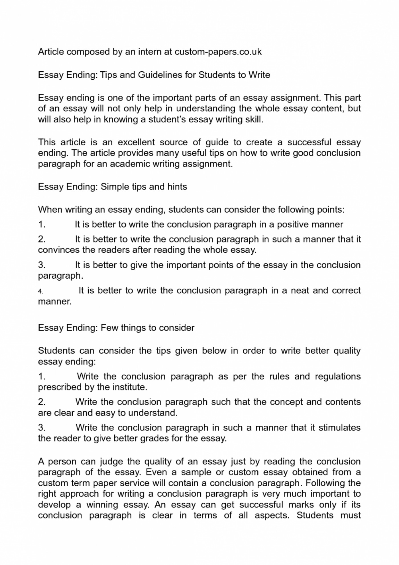 013 Good Ways To End An Essay Example Ending Is It Okay With Question Pzwnx My Wrong Outstanding Opinion Best Way Argumentative What Are Some 1400
