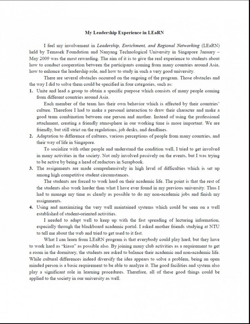 013 Great Leadership Essays Essay Short On Experiences Of Skills Very Sample How To Show Qualities 936x1211 Awesome In Hindi For Students