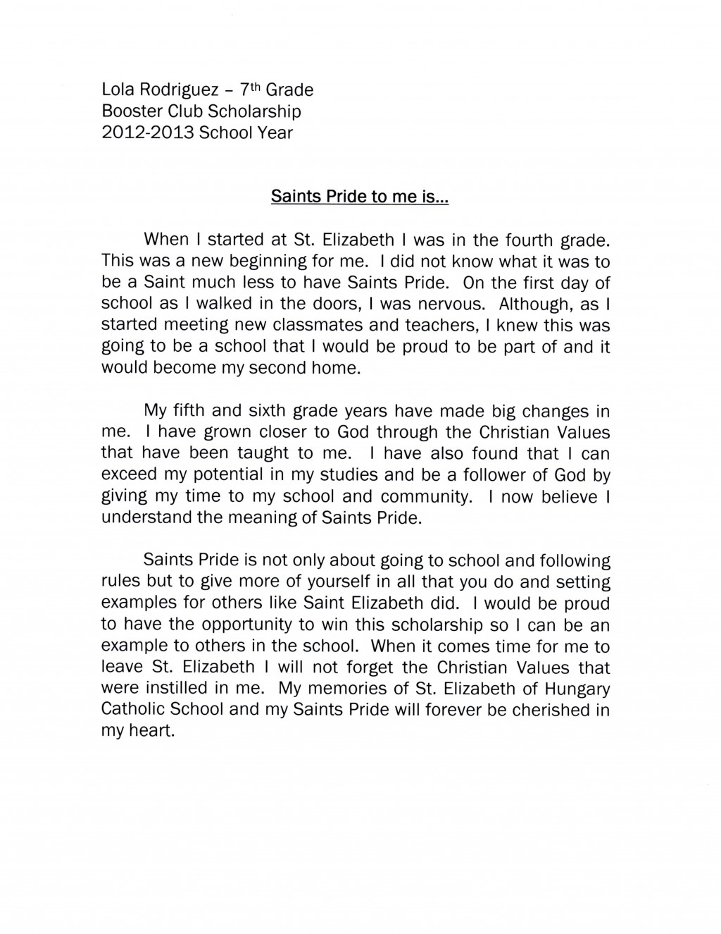013 Lola Rodriguez Essay Example How To Start Striking A Scholarship About Yourself Examples Off Large