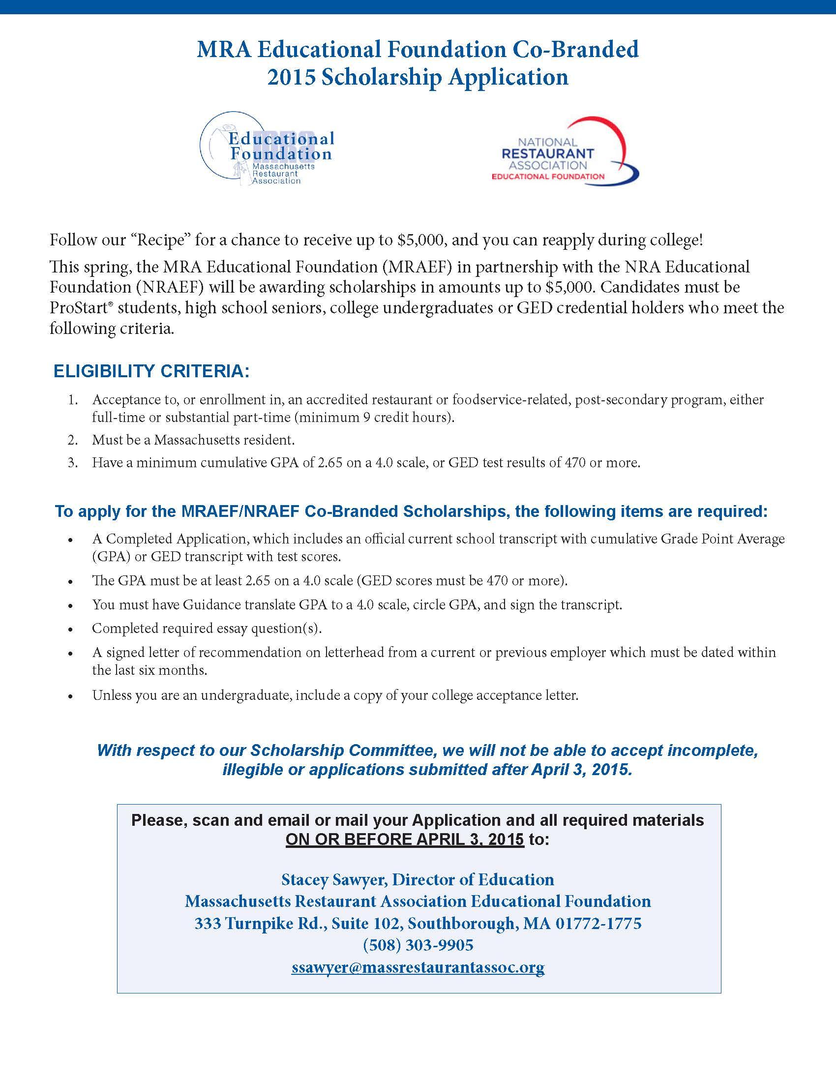 013 No Essay Scholarships For High School Seniors Example Scholarship Application National Restaurant Association Page 1 Rare 2017 2019 Full