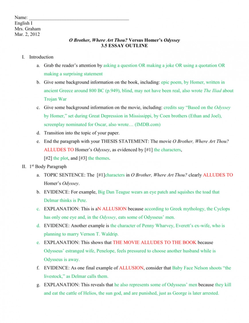 013 O Brother Where Art Thou Essay 008446144 1 Striking The Odyssey And Comparison Chart Oh Vs