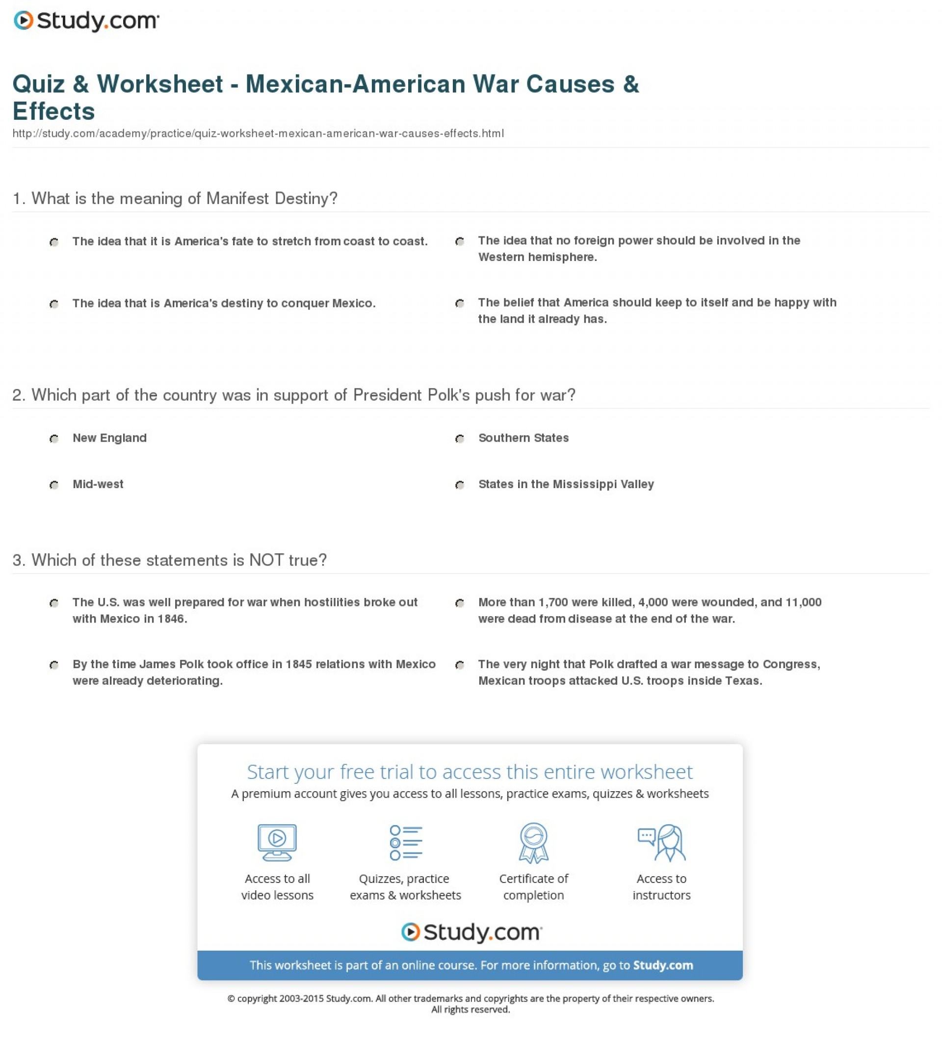 013 Quiz Worksheet Mexican American War Causes Effects Manifest Destiny Essay Impressive Prompt Outline Introduction 1920