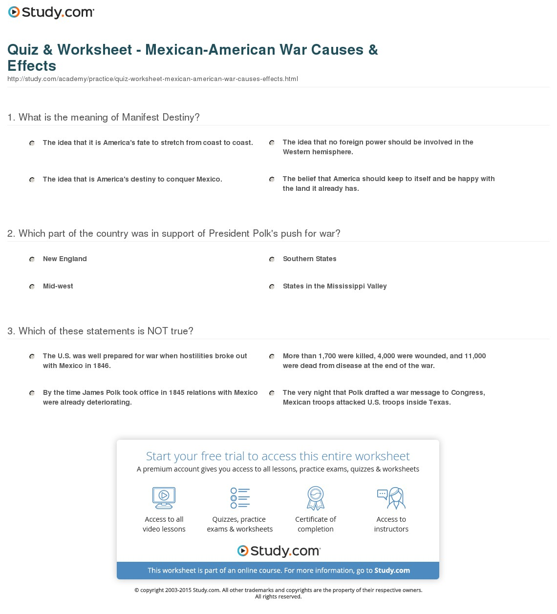 013 Quiz Worksheet Mexican American War Causes Effects Manifest Destiny Essay Impressive Prompt Outline Introduction Full
