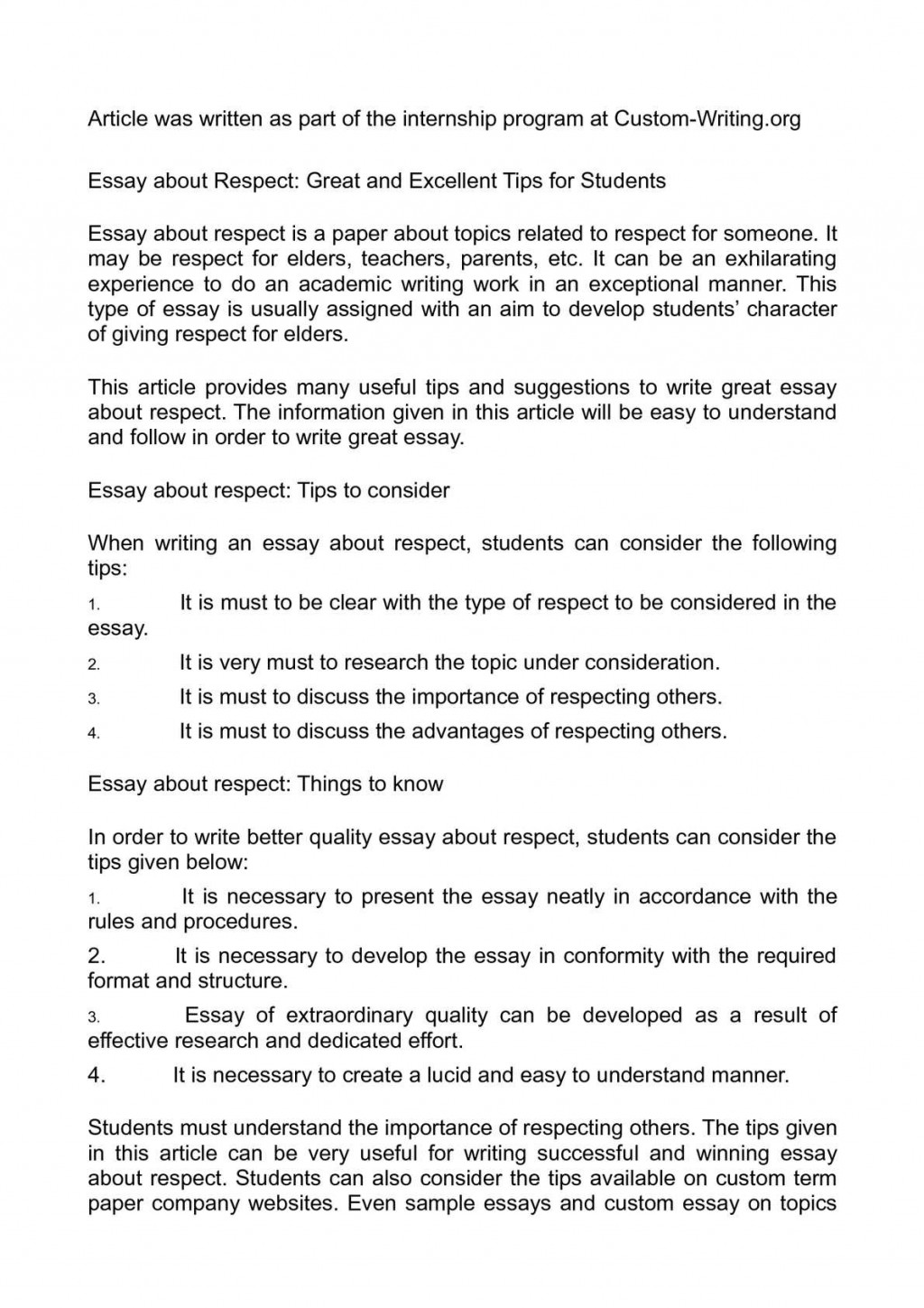 013 Respect To Elders Essay Example Unbelievable In Hindi Respecting For Class 2 6 Large