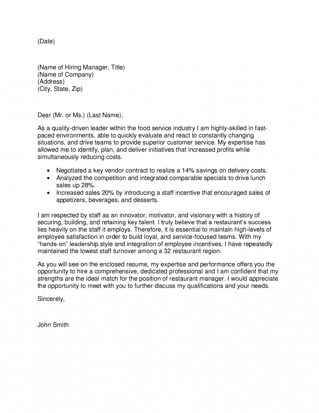 013 Restaurant Manager Cover Letter Essay About Favorite Beautiful Your Write An Large