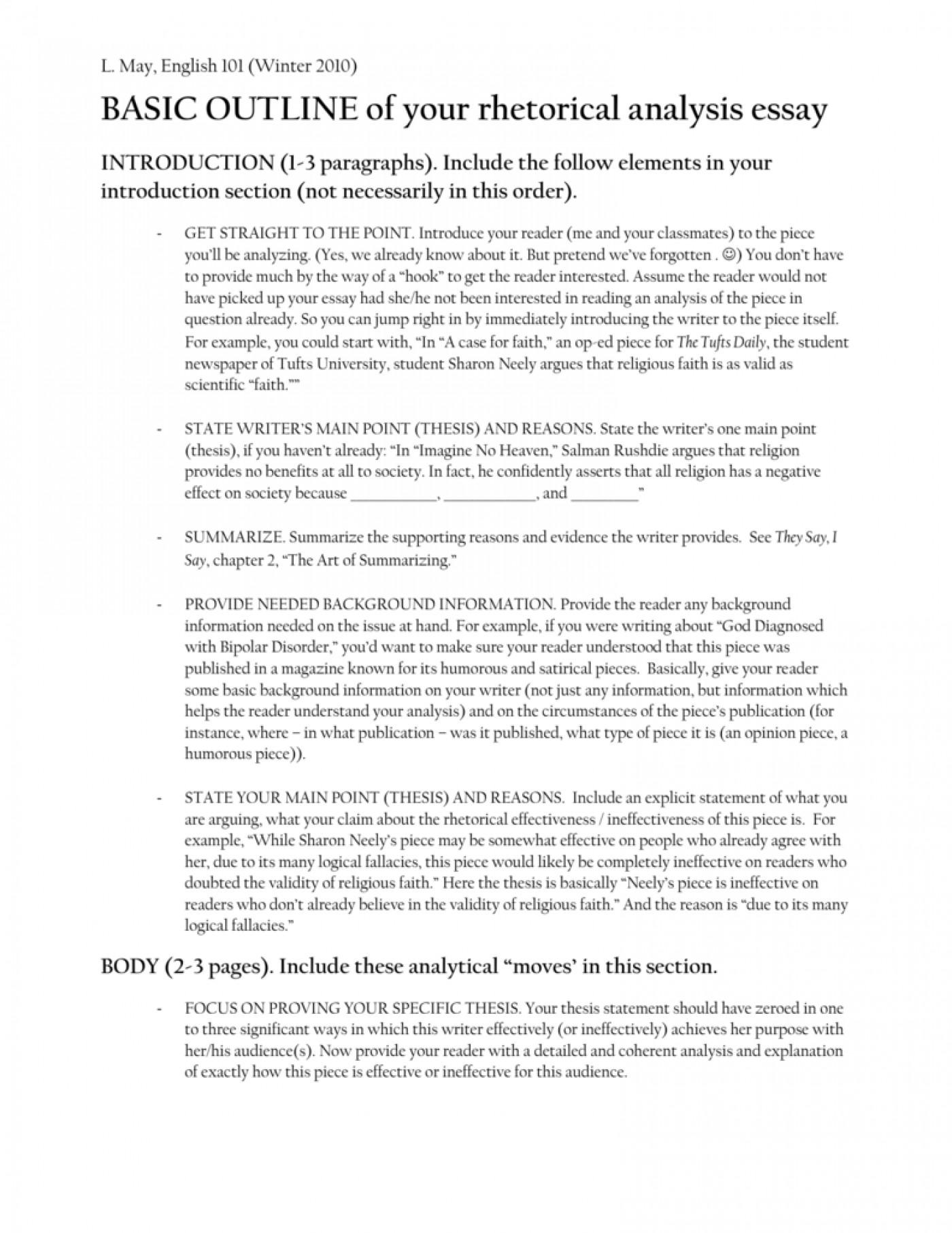 Rhetorical analysis essay help