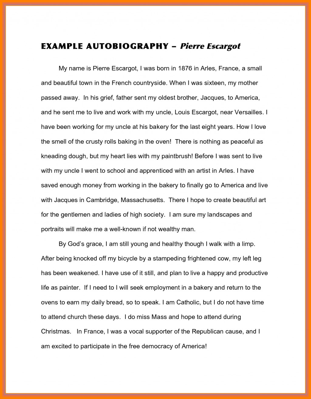 013 Sample Biography Essay Auto Autobiography Latest Captures Example Of Unforgettable About Myself Elementary Self Large
