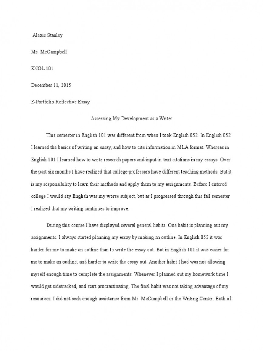 013 Self Reflective Essay Example Unbelievable On English Class Critical Reflection Topics