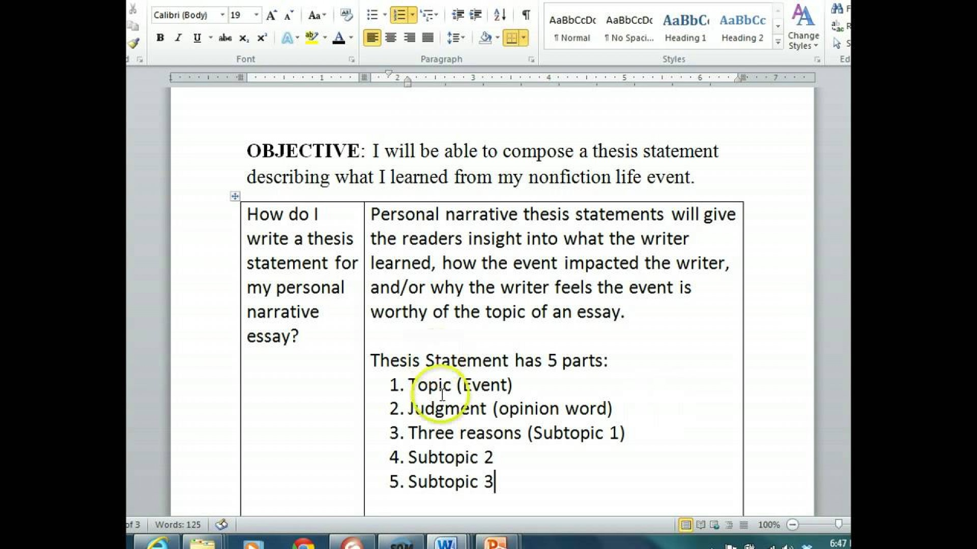013 Thesis Statement For Narrative Essay Example Astounding Examples 1920