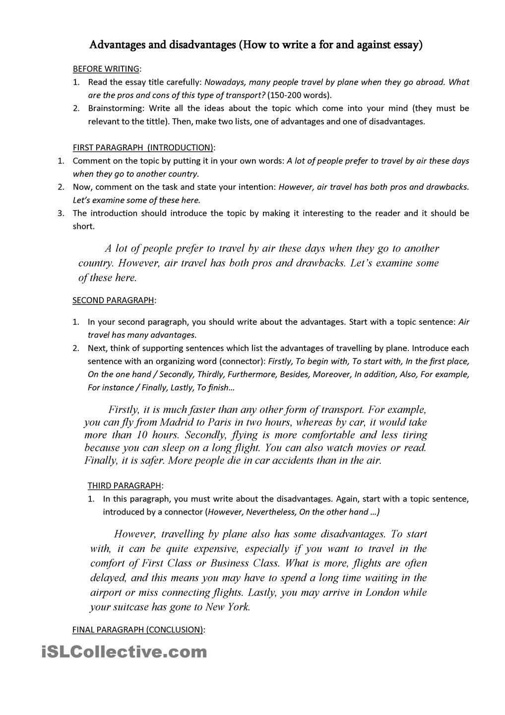 how to write a introductory paragraph for an essay word