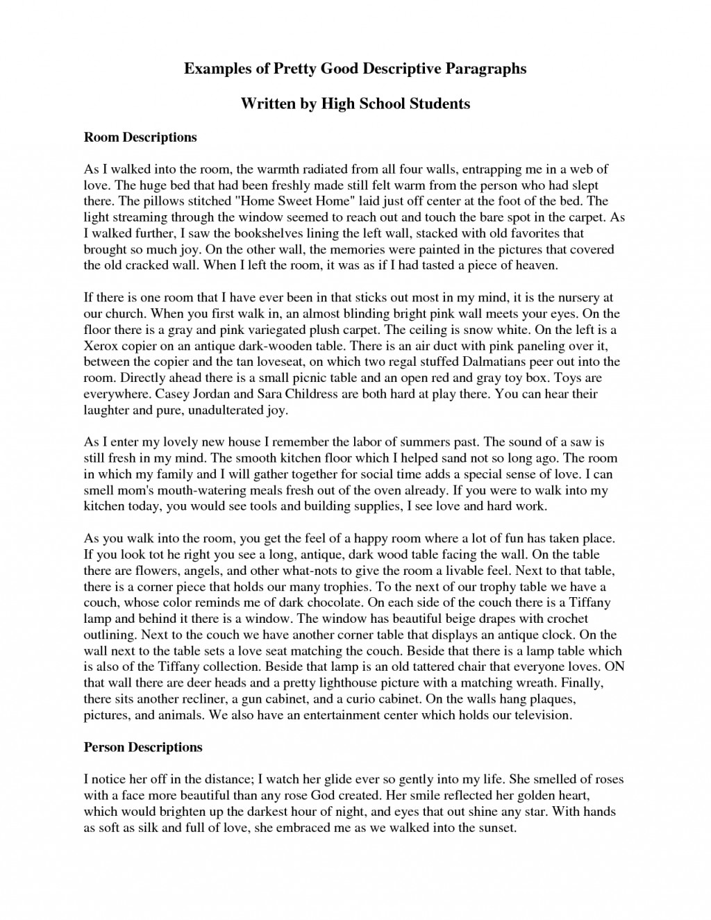 013 Writing Descriptive Essay Example Short Awesome A Paragraph About Place Of Ppt Large