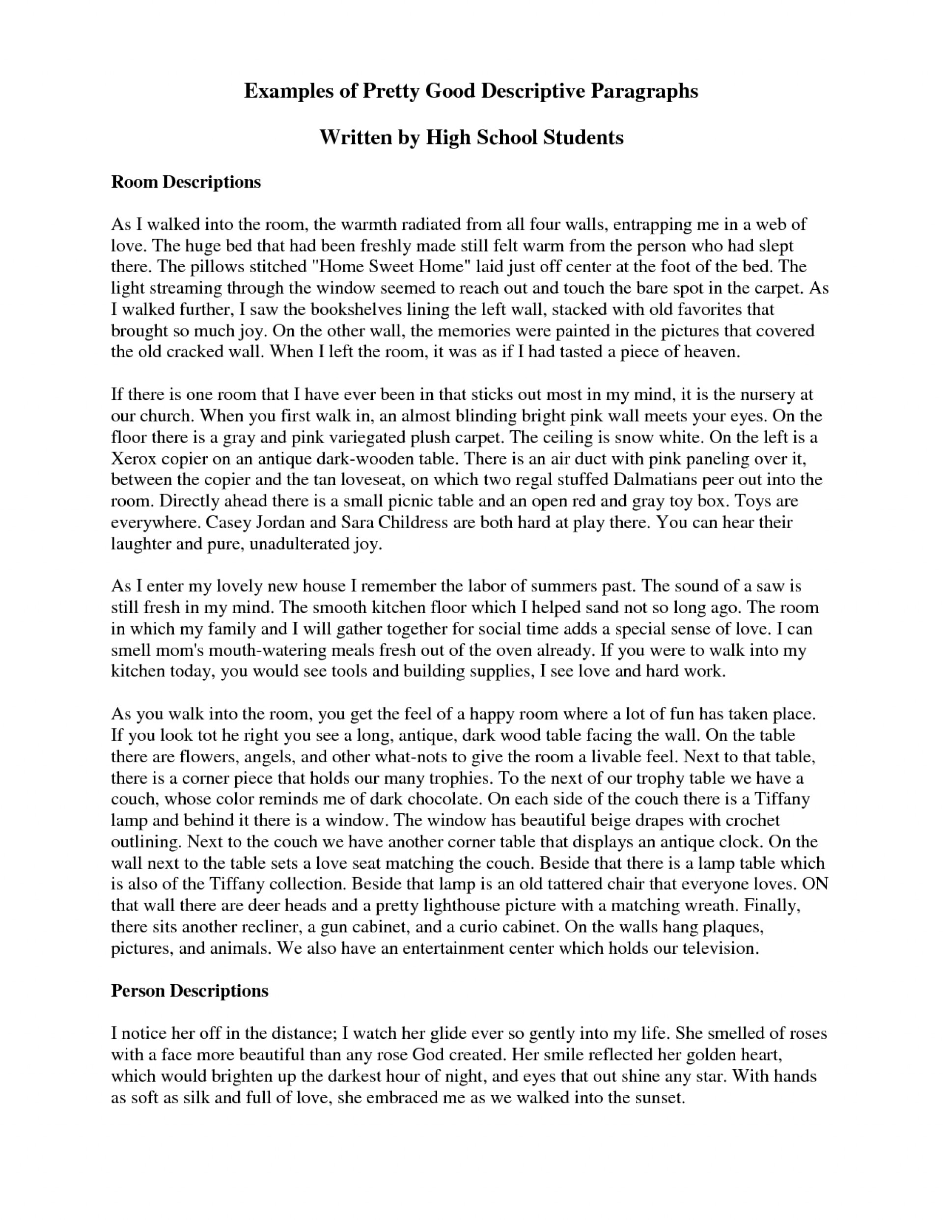 013 Writing Descriptive Essay Example Short Awesome A Paragraph About Place Of Ppt 1920