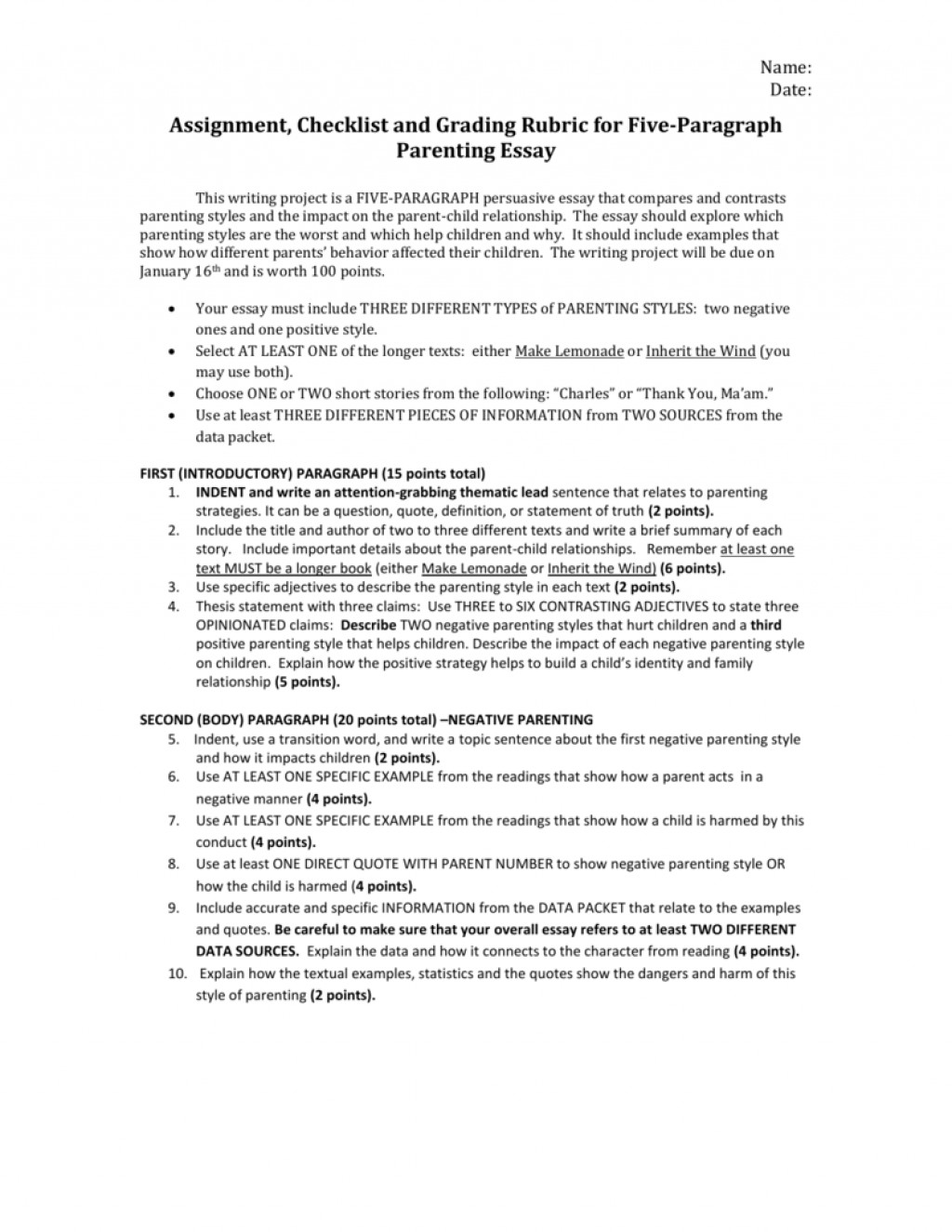 014 007055492 1 Paragraph Essay Rubric Awesome 5 8th Grade Middle School Pdf Large