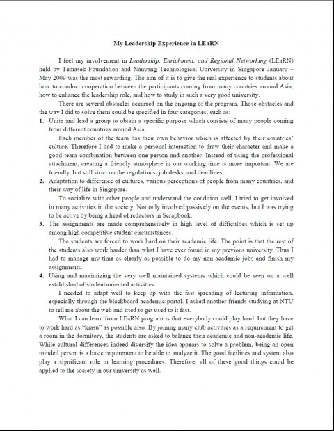 014 Act Essay My Leadership Fearsome Format 2018 Prompts 480