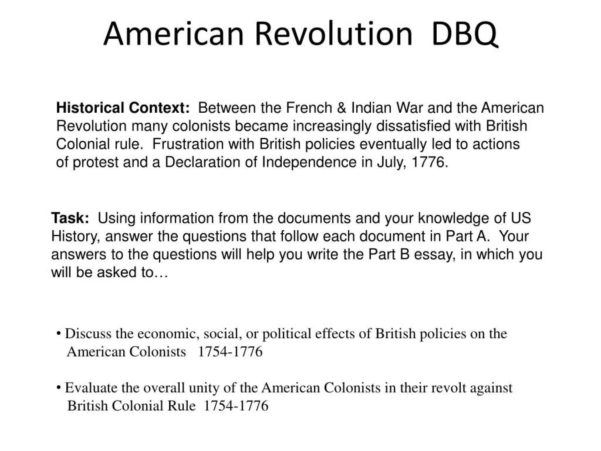 014 American Revolution Essay Example Dbq Fascinating Causes Of The Conclusion Outline Introduction 1920