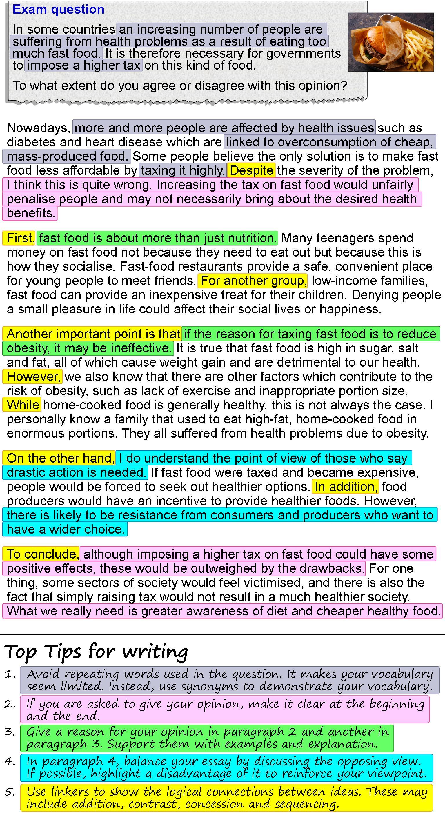 014 An Opinion Essay About Fast Food 4 How To Write Fascinating Academic English In Exam Full