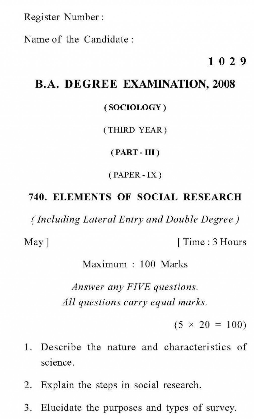014 Annamalai University In Sociology Elements Of Social Research Previous Year Essay Example Breaking Awesome Norms Free Conclusion Large