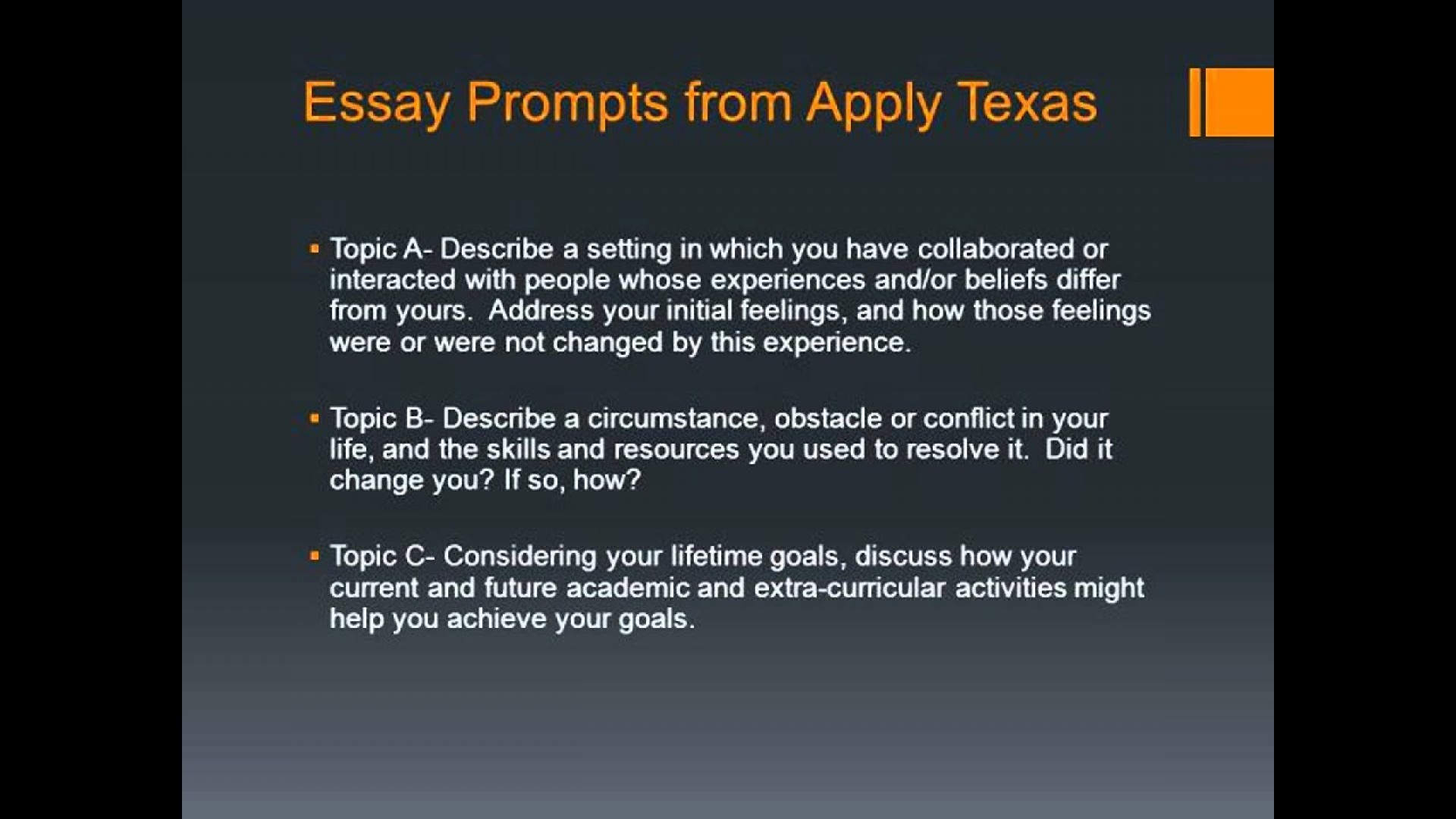 014 Apply Texas Essay Examples Example Surprising A College Prompts Topic C 1920