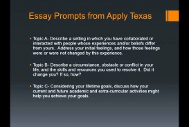 014 Apply Texas Essay Examples Example Surprising A College Prompts Topic C