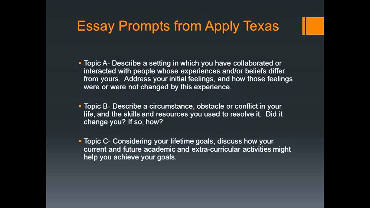 014 Apply Texas Essay Examples Example Surprising A College Prompts Topic C Full