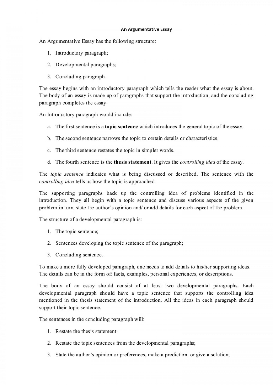 014 Argumentativeessaystructure Phpapp01 Thumbnail Essay Example Evaluation Shocking Argument 1920