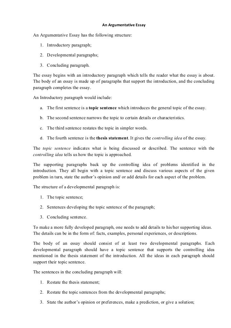 014 Argumentativeessaystructure Phpapp01 Thumbnail Essay Example Evaluation Shocking Argument Full