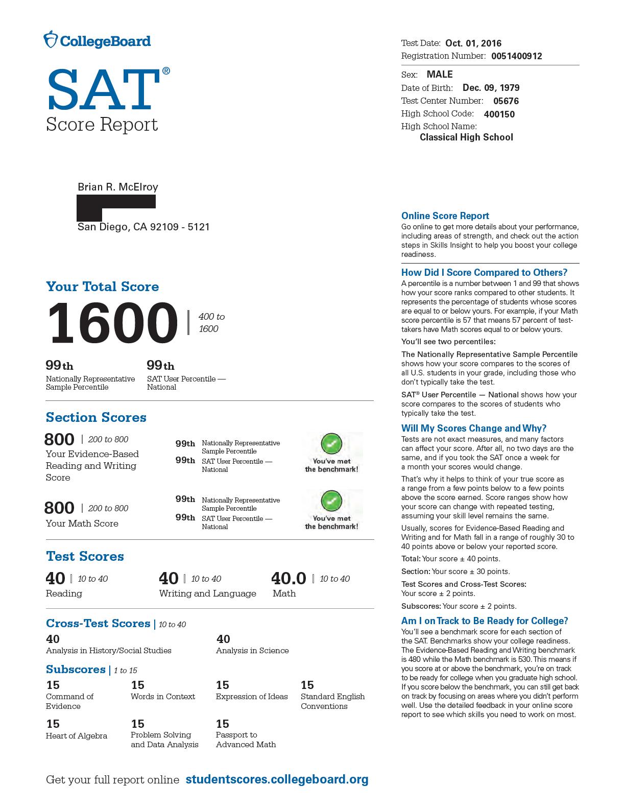014 Average Sat Essay Score Example Brian20mcelroy20october20201620sat20score20report Redacted Amazing 2016 Full