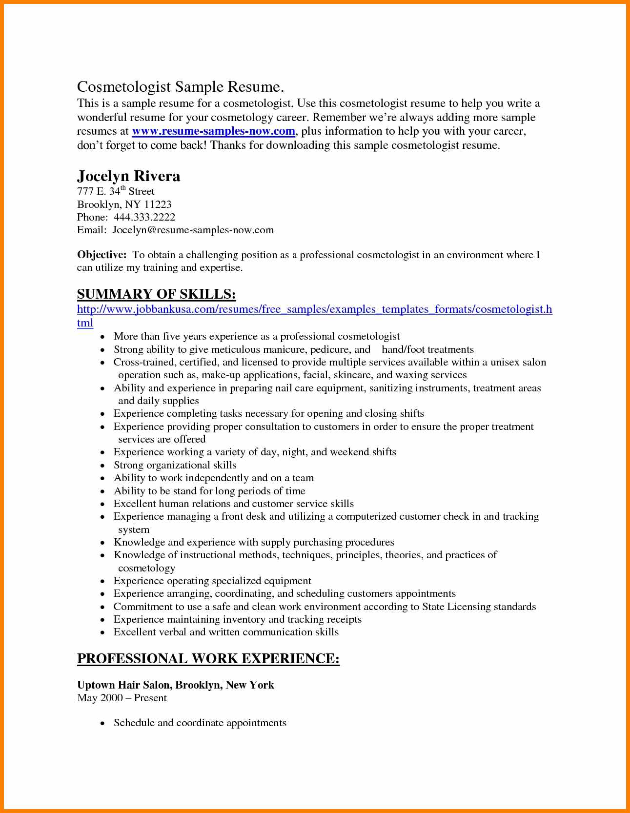 014 Cosmetology Resume Objective Waa Mood Exolgbabogadosco Temp Essays Scholarship Entrance Archaicawful Essay Examples Conclusion Full