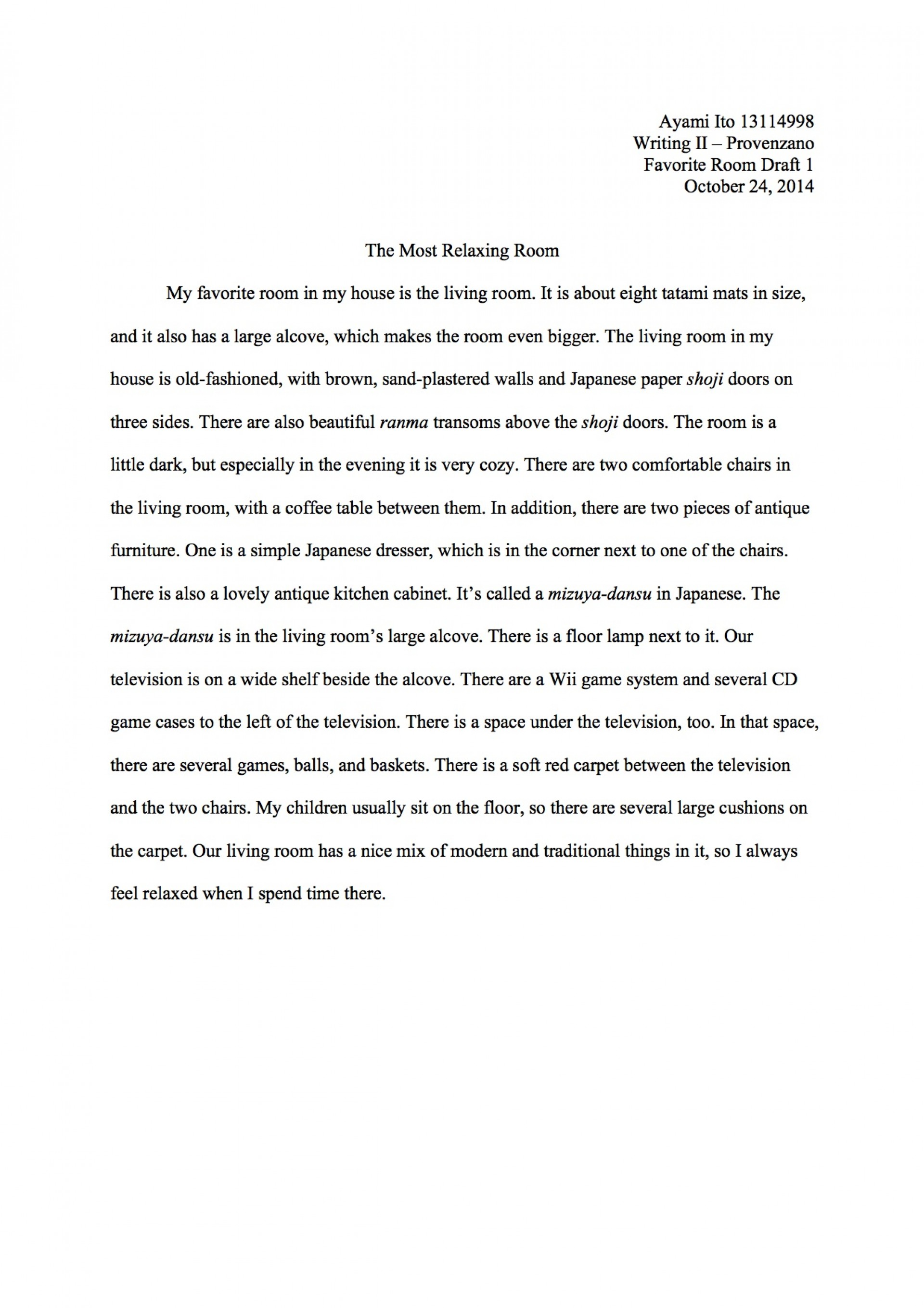 my dream bedroom descriptive essay