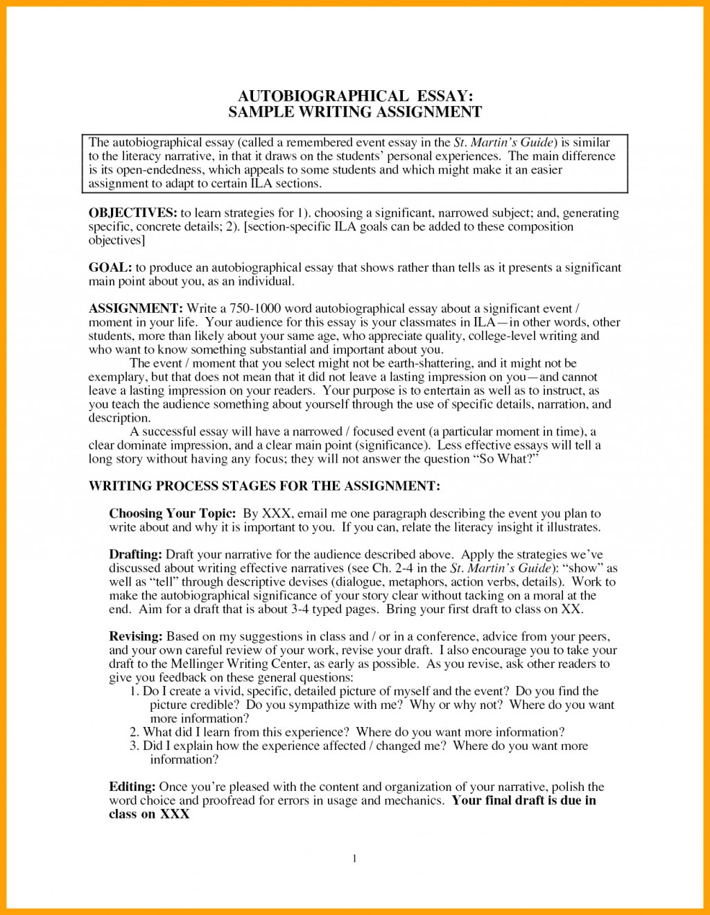014 Essay Example College Autobiography Autobiographical For Sensational Of About Yourself Tagalog Students Highschool Large