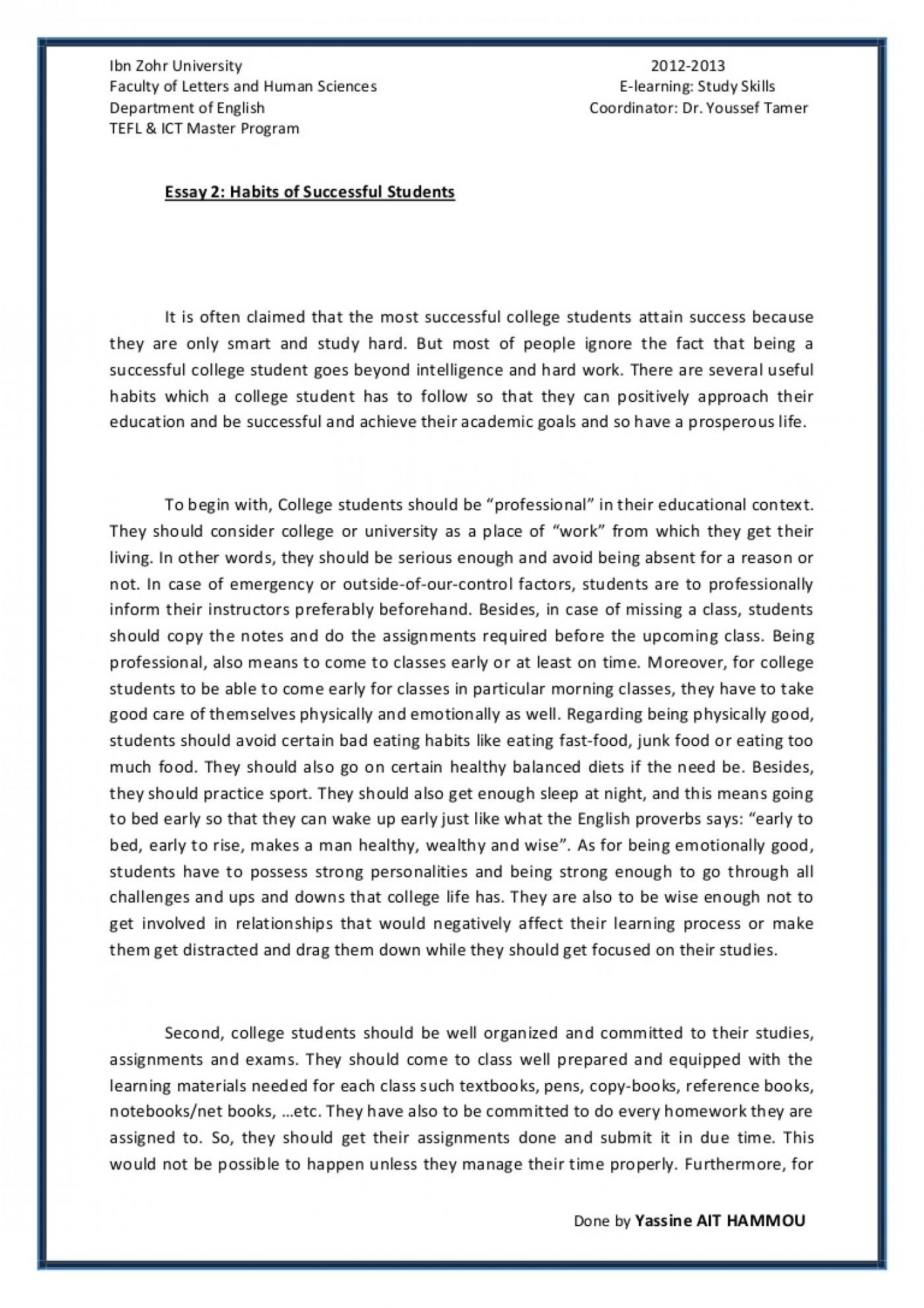014 Essay Example Essay2 Succesfulcollegestudentshabitsbyyassineaithammou Phpapp01 Thumbnail On Achieving Stunning A Goal Narrative 1400