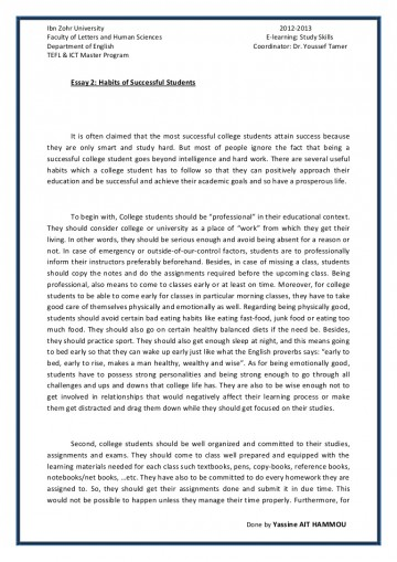 014 Essay Example Essay2 Succesfulcollegestudentshabitsbyyassineaithammou Phpapp01 Thumbnail On Achieving Stunning A Goal Narrative 360