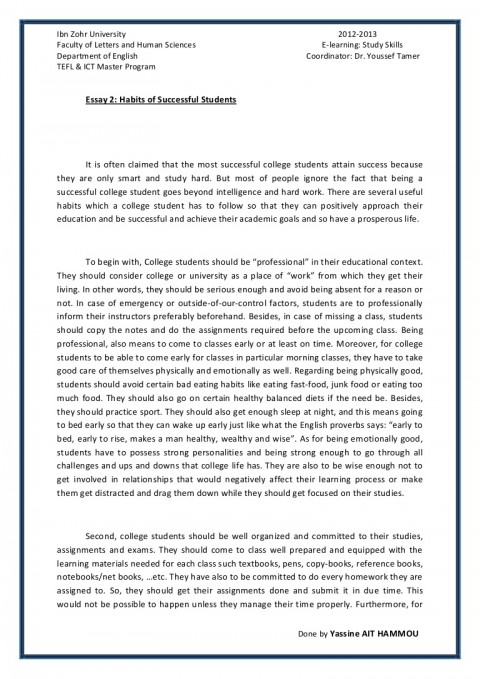014 Essay Example Essay2 Succesfulcollegestudentshabitsbyyassineaithammou Phpapp01 Thumbnail On Achieving Stunning A Goal Narrative 480