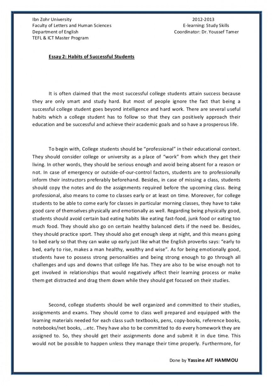 014 Essay Example Essay2 Succesfulcollegestudentshabitsbyyassineaithammou Phpapp01 Thumbnail On Achieving Stunning A Goal Narrative 868
