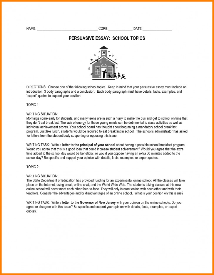 014 Essay Example Essays For Middle School Awesome Collection Of Persuasive Topics High Fabulous Prompts Shocking Informative Writing Leadership Students 728